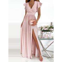 Jednolity Krótkie rękawy Ruffle Sleeve Sukienka Trapezowa Łyżwiaż Impreza/Elegancki Maxi Sukienki