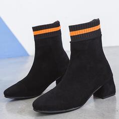 Dla kobiet Zamsz Obcas Stożek Botki Nosek kwadratowy Z Zamek błyskawiczny Kolor splotu obuwie