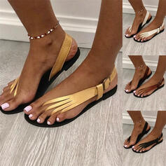 Dla kobiet PU Płaski Obcas Sandały Plaskie Otwarty Nosek Buta Z Klamra Jednolity kolor obuwie