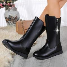 Dla kobiet PU Obcas Koturnowy Kozaki Z Jednolity kolor obuwie