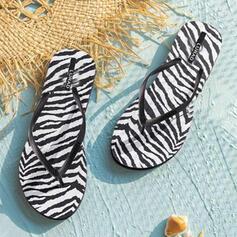 Dla kobiet PVC Płaski Obcas Sandały Japonki Kapcie Z Nadruk Zwierzęcy List obuwie
