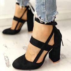 Dla kobiet Zamsz Obcas Slupek Czólenka Zakryte Palce Z Sznurowanie obuwie
