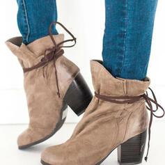Dla kobiet Zamsz Obcas Slupek Martin Buty Round Toe Z Sznurowanie obuwie