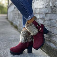 Dla kobiet PU Obcas Slupek Kozaki do polowy lydki Round Toe Z Klamra Sztuczne Futro obuwie