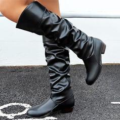 Dla kobiet PU Obcas Slupek Kozaki do polowy lydki Round Toe Z Marszczenie Jednolity kolor obuwie