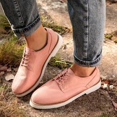 Dla kobiet Skóra ekologiczna Płaski Obcas Plaskie Niskie góry Niesznurowane mokasyny Z Sznurowanie obuwie