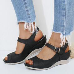 Women's Microfiber Wedge Heel Sandals Platform Wedges Peep Toe Heels With Buckle Solid Color shoes