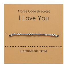 Simple Valentine's Day Morse Code Alloy Braided Rope Women's Bracelets