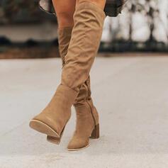 Dla kobiet Zamsz Obcas Stiletto Kozaki do kolan Spiczasty palec u nogi Z Jednolity kolor obuwie