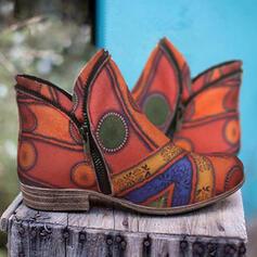 Dla kobiet PU Płaski Obcas Kozaki Botki Z Nadruk Kwiatowy obuwie