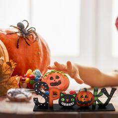 Kolorowe gotyk Przerażające Dynia Drewniany Rekwizyty na Halloween Dekoracje na Halloween (Sprzedawane w jednym kawałku)