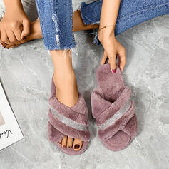 Dla kobiet Zamsz Płaski Obcas Sandały Z Stras/ Krysztal Górski Pozostałe Jednolity kolor obuwie