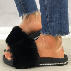 Dla kobiet Skóra ekologiczna Byszczący brokat Płaski Obcas Sandały Platforma Otwarty Nosek Buta Kapcie Z Stras/ Krysztal Górski Futro obuwie