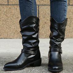 Dla kobiet PU Obcas Slupek Kozaki Martin Buty Z Klamra Jednolity kolor obuwie