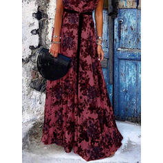 Nadrukowana/Kwiatowy Rękawy z kapturkami W kształcie litery A Casual/Wakacyjna Maxi Sukienki