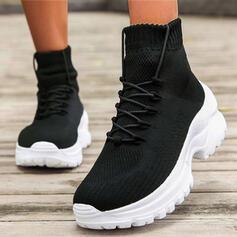Dla kobiet Flying Weave Obcas Slupek Botki Round Toe Buty do skarpet Z Sznurowanie Elastic Band Jednolity kolor obuwie
