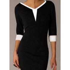 Color Block 3/4 Sleeves Bodycon Above Knee Little Black/Elegant Dresses