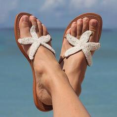 Women's PU Flat Heel Sandals Flats Peep Toe Flip-Flops Slippers Round Toe With Rhinestone shoes