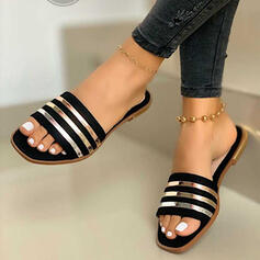 Women's PVC Flat Heel Sandals Peep Toe Slippers With Splice Color shoes