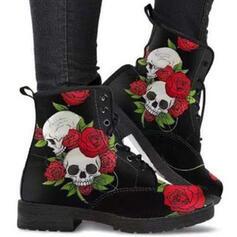 Dla kobiet PU Obcas Slupek Kozaki Martin Buty Z Sznurowanie Nadruk Kwiatowy obuwie