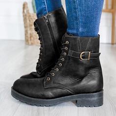 Dla kobiet PU Obcas Slupek Martin Buty Round Toe Z Zamek błyskawiczny Sznurowanie obuwie