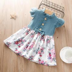 Dziewczynki 2-5lat Kokarda Przycisk Kwiatowy Nadruk Suknia