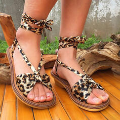 Women's Cloth Chunky Heel Sandals Pumps Peep Toe Heels With Animal Print Lace-up Flower shoes