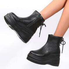 Dla kobiet Skóra ekologiczna Obcas Koturnowy Martin Buty Z Zamek błyskawiczny Sznurowanie obuwie