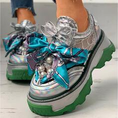 Dla kobiet PU Płaski Obcas Niskie góry Tenisówki Z Perła Sznurowanie Kolor splotu obuwie