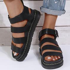 Dla kobiet PU Obcas Koturnowy Sandały Plaskie Platforma Otwarty Nosek Buta Z Klamra Jednolity kolor obuwie