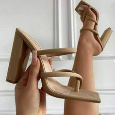 Women's Suede Chunky Heel Pumps Peep Toe Toe Ring Heels With Hollow-out Solid Color shoes