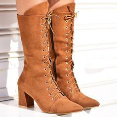 Dla kobiet Zamsz Obcas Slupek Z Nit Zamek błyskawiczny Frędzle Jednolity kolor obuwie