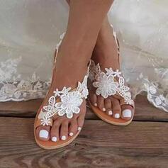 Dla kobiet PU Płaski Obcas Sandały Plaskie Pierścień na palec Z Aplikacja/ Naszywka Kwiaty Jednolity kolor obuwie