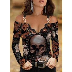 Kwiatowy Nadruk Skull Head Koronka Zimne ramię Długie rękawy T-shirty