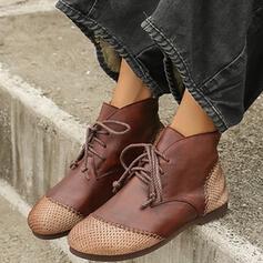 Dla kobiet PU Płaski Obcas Botki Round Toe Z Sznurowanie Kolor splotu obuwie