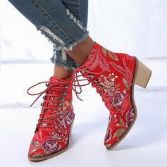 Dla kobiet PU Obcas Slupek Kozaki Z Cekin Sznurowanie Nadruk Kwiatowy obuwie