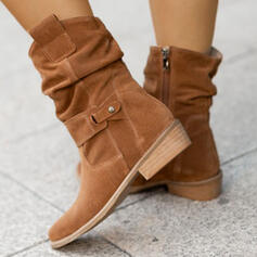 Dla kobiet Zamsz Obcas Slupek Kozaki Z Klamra Zamek błyskawiczny Jednolity kolor obuwie