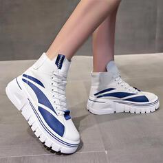Dla kobiet PU Płaski Obcas Plaskie Botki Wysoki szczyt Round Toe Tenisówki Z Sznurowanie Kolor splotu obuwie