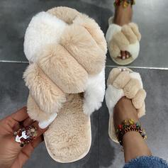 Dla kobiet Sztuczne futro Płaski Obcas Sandały Kapcie Z Futro Colorblock obuwie