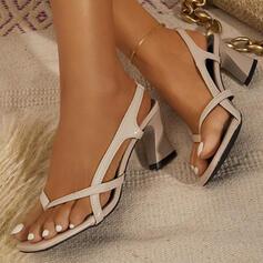 Dla kobiet PU Obcas Slupek Sandały Japonki Z Jednolity kolor obuwie