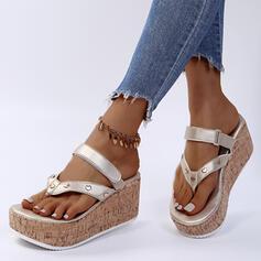 Dla kobiet PU Obcas Koturnowy Sandały Japonki Kapcie Z Rzep Jednolity kolor obuwie