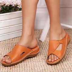 Women's PU Flat Heel Sandals Slippers Round Toe With Patchwork shoes