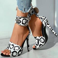 Women's PU Stiletto Heel Pumps Peep Toe With Applique Hollow-out shoes