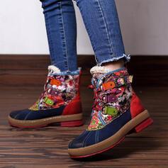 Dla kobiet Skóra ekologiczna Obcas Slupek Kozaki do polowy lydki Round Toe Z Sznurowanie Kolor splotu obuwie