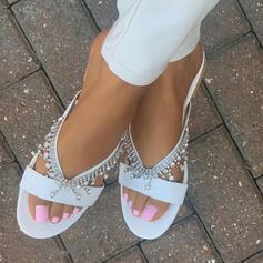 Women's Suede Flat Heel Sandals Flats Slippers With Rhinestone Tassel shoes