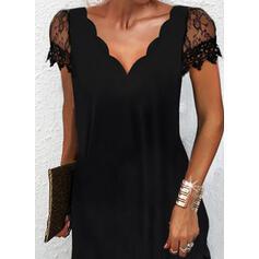 Jednolity Koronka Krótkie rękawy Suknie shift Nad kolana Mała czarna/Elegancki Sukienki