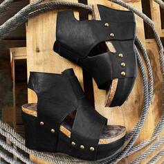 Dla kobiet Skóra Lakierowana Obcas Koturnowy Sandały Platforma Koturny Otwarty Nosek Buta Bez Pięty Z Tkanina Wypalana Jednolity kolor obuwie