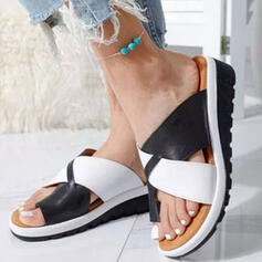 Dla kobiet PU Obcas Koturnowy Sandały Koturny Otwarty Nosek Buta Kapcie Z Tkanina Wypalana Colorblock W kratke obuwie