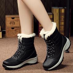 Dla kobiet Płótno Obcas Koturnowy Koturny Kozaki Buty zimowe Z Sznurowanie obuwie