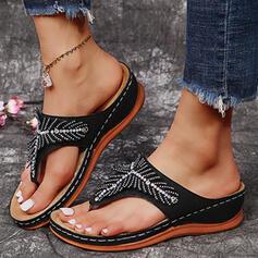 Dla kobiet PU Obcas Koturnowy Sandały Koturny Japonki Kapcie Z Stras/ Krysztal Górski Jednolity kolor obuwie